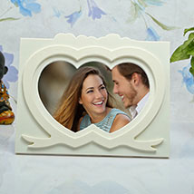 Personalised White Heart Photo frame: Anniversary Gifts