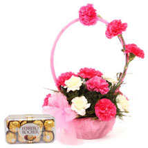 Pink N White Basket Of Flavours: Send Flowers to Delhi