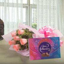 Pink Roses N Chocolates: Send Flowers to Mumbai