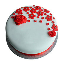 Red Roses Anniversary Fondant Cake: Cake Delivery