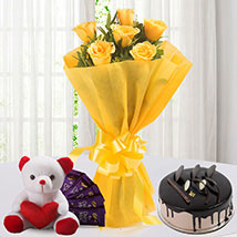 Roses N Choco Hamper: Flowers to Delhi