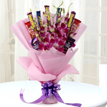 Chocolate Bar Bouquet with Orchids