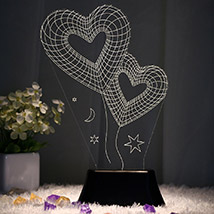 Two Hearts 3D Night Lamp Red: Romantic Gifts