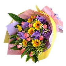 Bouquet of Yellow Gerberas n Pink Roses MAL: Flower Delivery in Malaysia
