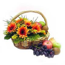 Fruit n Flowers Basket with Orange Gerberas MAL: Send Flowers to Malaysia