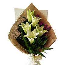 Peaceful Bouquet Of Lilies: Sympathy Flowers to Malaysia