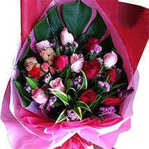 Roses N Teddy Combined: Christmas Gifts Delivery In Malaysia