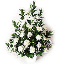 White Carnations In A Vase: Sympathy Flowers to Malaysia