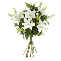 Exotic White Lilies Bouquet: Send Flower Bouquets to New Zealand
