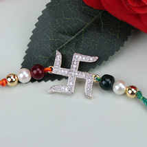 Swastik Beauty American Diamond Rakhi POL: Send Rakhi to Poland