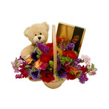 Classic Teddy Bear Basket: Mothers Day Gifts to Qatar