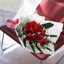 12 red roses in Long Wrapping: Mothers Day Flowers - Singapore