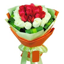 12 White and Red Rose Bouquet: Mothers Day