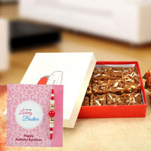 Multy Color Pearl Rakhi With Dhoda Burfi: Singapore Rakhi Delivery