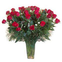 15 Red Roses in Glass Vase SA: South Africa