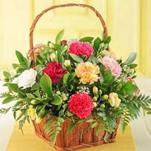 Mixed Carnations in a Basket: Christmas Gift Delivery in South Africa