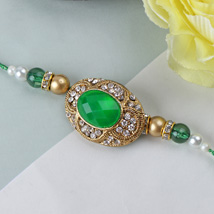 Green Emerald Stone Rakhi SPN: Send Rakhi to Spain