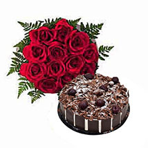 1 Dozen Roses with Cake: Send Gifts to Sharjah