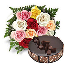 12 Multicolored Roses with Cake: Birthday Cakes Abu Dhabi