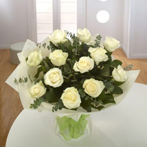 12 White Roses Bouquet: Send Sympathy & Funeral Flowers to UAE