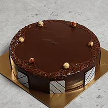 500gm Eggless Hazelnut Choco Cake: Send Birthday Cakes to UAE