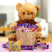 A Basket Loaded with Happiness with Rakhi: Send Bhaiya Bhabhi Rakhi to UAE