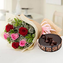 Beautiful Roses Bouquet With Chocolate Fudge Cake: Send Flowers and Cakes to UAE