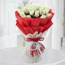 Bunch of White Roses: Valentines Day Flower Bouquets UAE