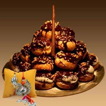 Chocolate Profiterole with Rakhi: Send Rakhi for Brother in UAE