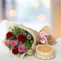 Delightful Roses Bouquet With Butterscotch Cake: Send Flowers and Cakes to UAE