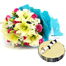 Elegant Bouquet with Cake: Send Birthday Cakes to Abu Dhabi