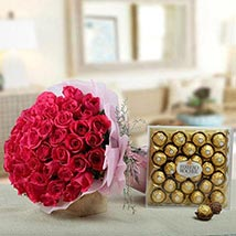 Flowers N Chocolates Combo: Easter Gifts to UAE