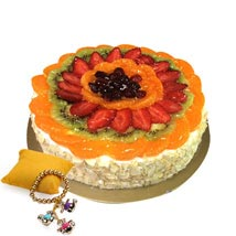 Fruit Cake with Rakhi: Send Rakhi to Al Ain