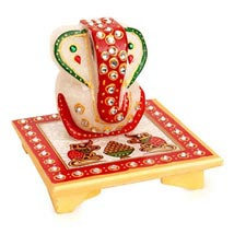 Marble Ganesha On A Chowki: Diwali Gift Delivery in Dubai UAE