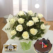 Pure Love Combo: Flower and Cake Delivery in UAE