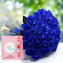 Rakhi with Blue Roses: Rakhi for Brother