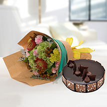 Royal Flower Bouquet With Chocolate Fudge Cake: Send Flowers and Cakes to UAE