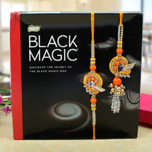 Assorted dark chocolates bhaiya bhabhi Rakhi Set: Send Rakhi to Cambridge