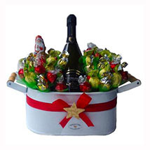Christmas Sweet Flowerbed with Sparkling Wine: Send Best Chocolates to UK