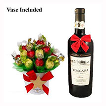 Classic Christmas Sweet Bouquet with Red Wine: Gift Baskets in London UK