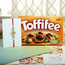 Hazelnut Toffiee Diamon Square Rakhi: Rakhi to Manchester UK