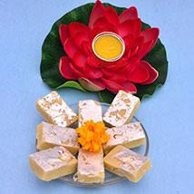 Lotus Tealight N Barfi: Diwali Gift Delivery in UK