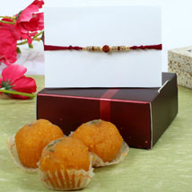 Maroon Rudrakash Moti Choor Ladoo Hamper: Rakhi to Manchester UK
