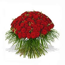 One Hundred Red Roses Bouquet: Send Flowers to UK