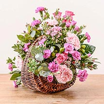 Pink Basket Arrangement: Send Flowers to UK