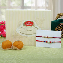 Premium Rakhi with Moti Choor Ladoo: Send Rakhi to Manchester UK