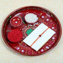 Puja thali with Rudraksh Rakhi: Send Rakhi to Cambridge
