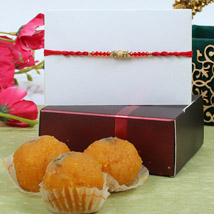 Red Crystal Diamond Rakhi with Ladoos: Send Rakhi to Cambridge
