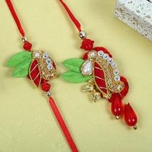 Red Diamond Zardosi Bhaiya Bhabhi Rakhi: Rakhi to UK