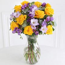 Rose n Freesia Bouquet: Gifts for Friend to UK